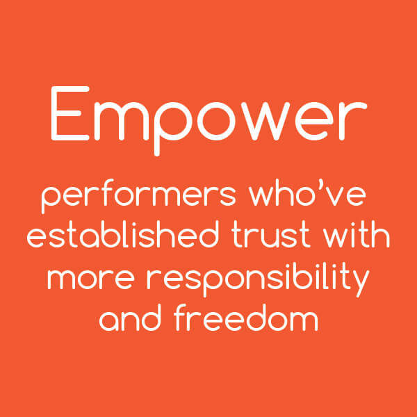 Developing Core Leader Competencies Tip: Empower performers who've established trust with more responsibility and freedom