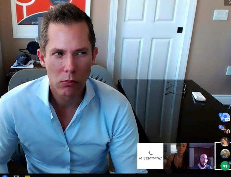 Intelivate's Kris Fannin having a debate during a virtual video conference
