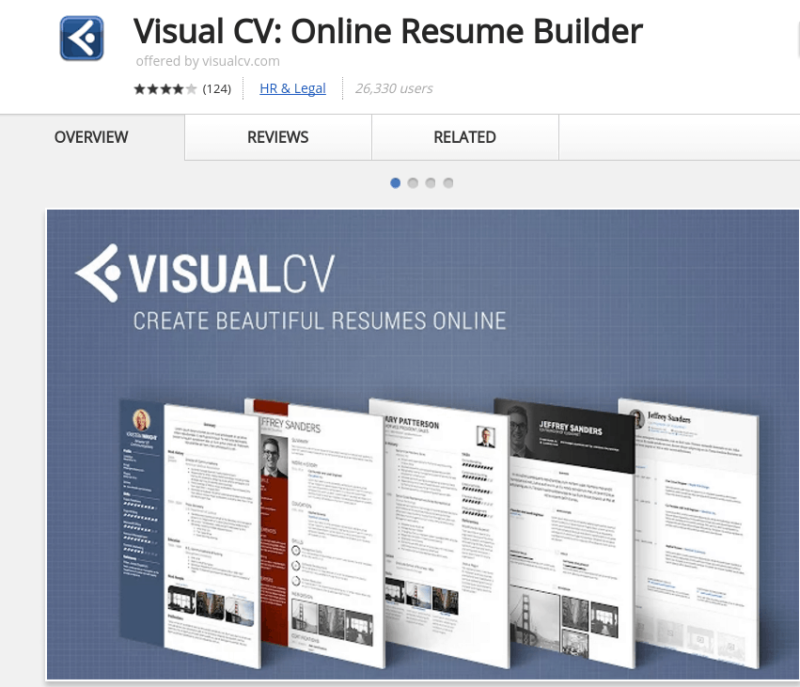 Visual CV Extension Online Resume Builder.  Google Docs Resume Builder