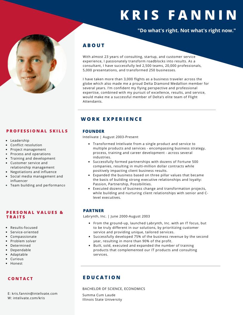 Kris Fannin Delta Flight Attendant Resume