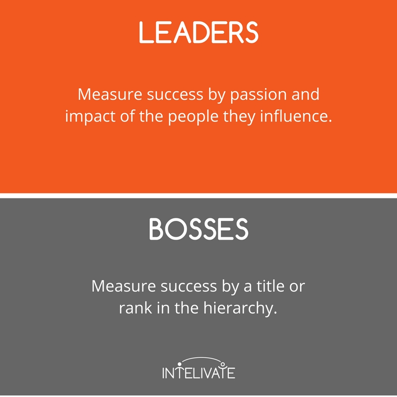 boss vs leader characteristics of a leader definition of success accountability leadership team development intelivate kris fannin