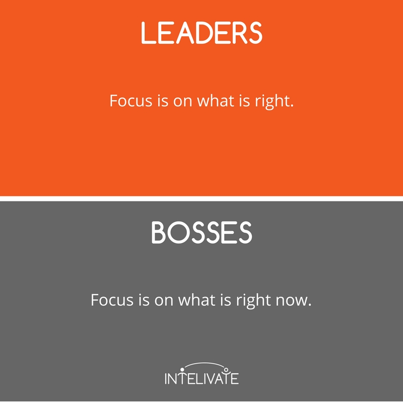 boss vs leader characteristics of a leader focus short term long term leadership team development intelivate kris fannin