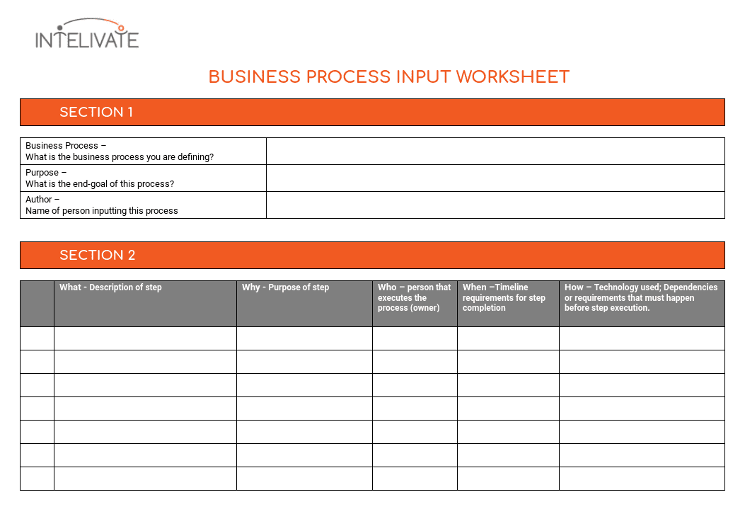 Process documentation why its vital and how to do it input worksheet template for business process documentation flashek Image collections