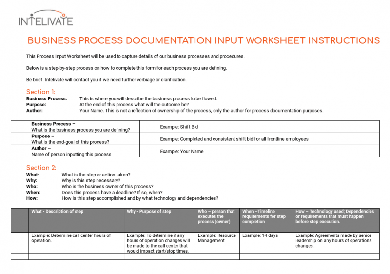 process documentation input instructions intelivate kris fannin