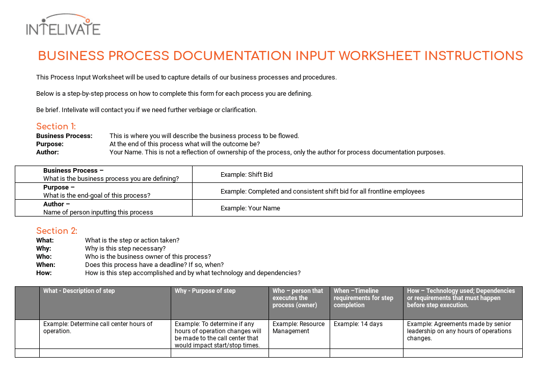 Process documentation why its vital and how to do it process documentation template input worksheet instructions wajeb Gallery